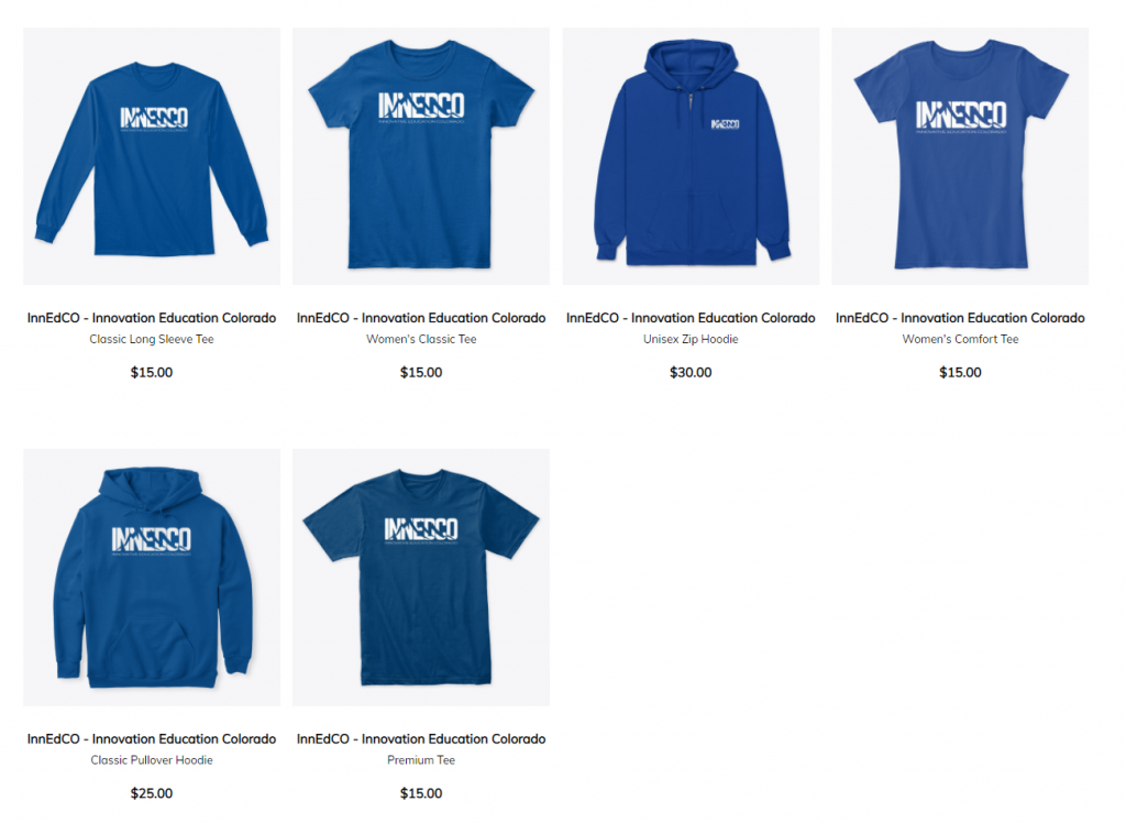Images of InnEdCO-branded shirts and hoodies